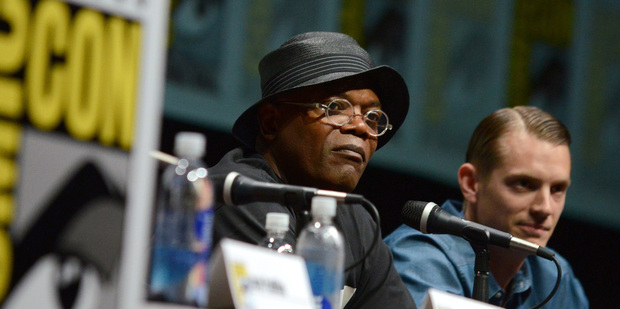Samuel L Jackson and Joel Kinnaman attend the RoboCop panel on Day 3 of Comic-Con International. Photo / AP