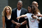 Beyonce, left, and Jay Z, center, arrive at a Justice for Trayvon rally in New York. Photo / AP