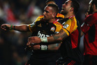 Aaron Cruden of the Chiefs celebrates with Liam Messam of the Chiefs after scoring a try during the Super Rugby semi final match between the Chiefs and the Crusaders. Photo / Getty Images.