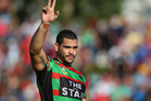 NRL superstar Greg Inglis says he's grateful for hundreds of messages of support after he and his wife were targeted by an online racist rant. Photo / Getty Images.