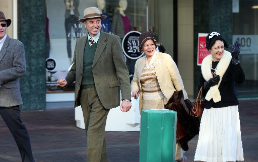 L-R: Ed Hamilton, Wellington,Kevin Craig, Nina Craig, Te Aroha, Kirsty Hamilton, Wellington, pictured in Emerson St, Napier, taking part in a Scavenger Hunt, an event using cryptic clues to correctly identify buildings in the Napier CBD, part of DIY Deco