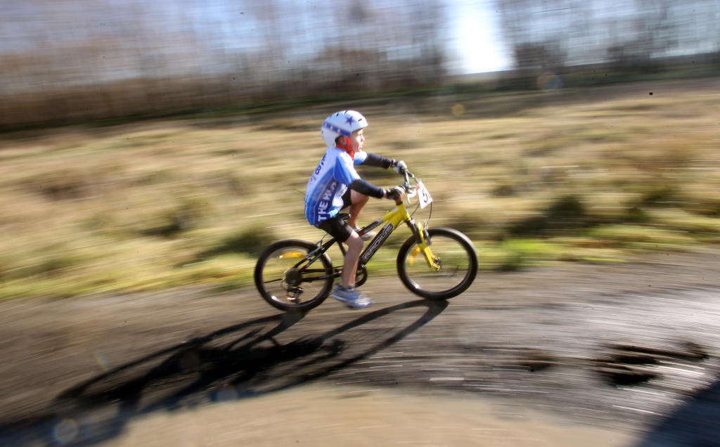 George Stent, 6, speeds through the course during the kids B grade under sevens race.