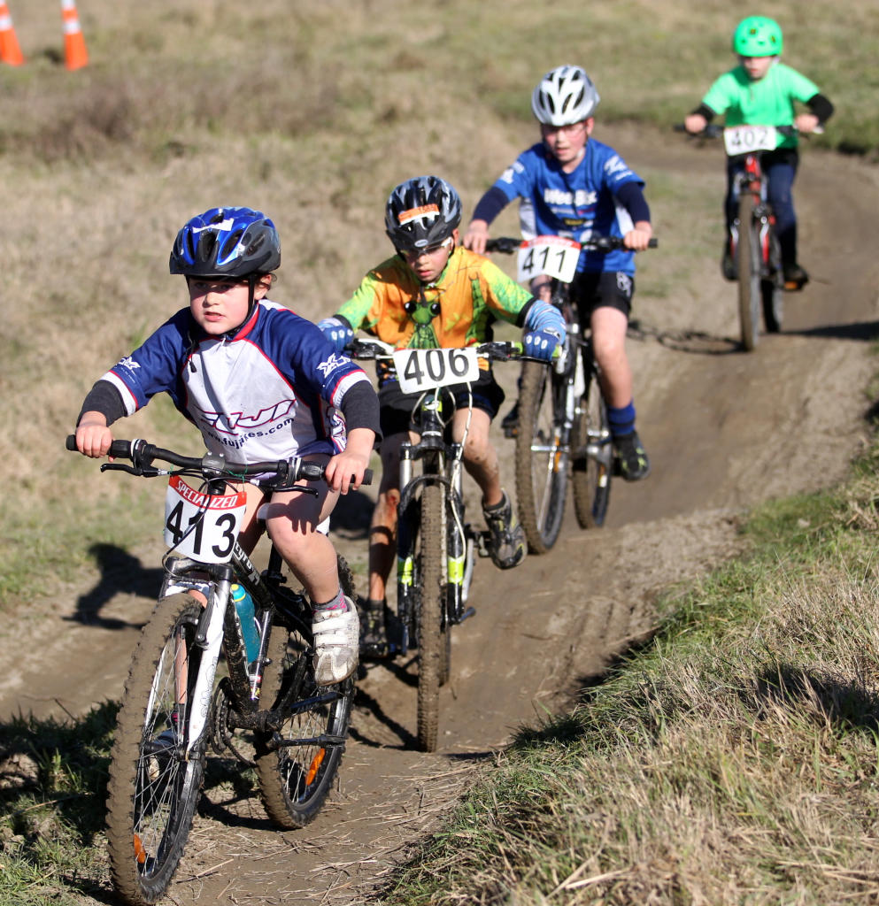 Participants race in the CXHB Cyclocross Series at Chesterhope Park, Hastings.