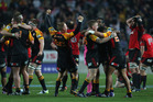 The Chiefs celebrate their win against the Crusaders. Photo / Getty Images
