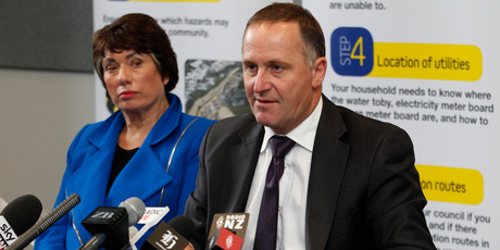 Prime Minister John Key, with Wellington Regional Council chair Fran Wilde, during his press conference over the earthquake in Wellington. Photo / Mark Mitchell