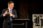 Bill English at the New Zealand Herald breakfast survey summary of Mood of the Boardoom. Photo / Richard Robinson