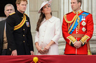Britain's Prince Harry, left, Kate, Duchess of Cambridge, center, and Prince William. Photo / AP