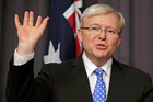 Kevin Rudd waves goodbye to jobs that are crossing the Tasman. Photo / AP