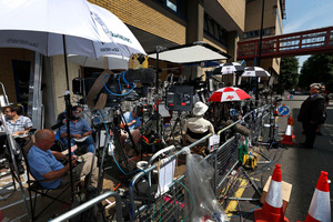 Media are gathered at St Mary's Hospital exclusive Lindo Wing in London.Photo / AP