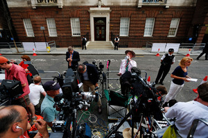 Members of the media wait across St. Mary's Hospital exclusive Lindo Wing.Photo / AP