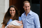 Britain's Prince William and Kate, Duchess of Cambridge pose with the Prince of Cambridge outside St. Mary's Hospital in London where the Duchess gave birth. Photo / AP