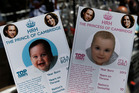 Cards depicting the 'royal baby' either as a boy or a girl.Photo / AP