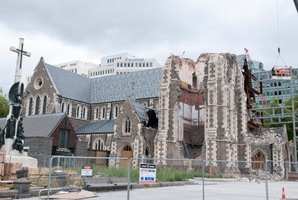 The earthquake damaged Christchurch Cathedral