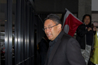 Mana Party Leader Hone Harawira outside Auckland District Court. Photo / NZ Herald