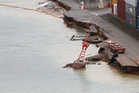 The CentrePort container wharf damaged as a result of the earthquake in Wellington. Photo / Mark Mitchell