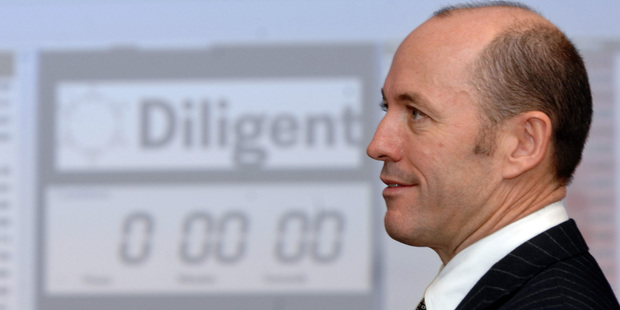 Brian Henry, founder of Diligent Board Member Services at the NZX after the company's shares were first listed in 2007. Photo / NZPA