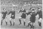 Sid Going leading an All Black haka before playing the Barbarians, the only pre-match haka performed on the tour of the UK in 1972-73. Photo / NZ Herald Archives