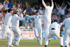 England's players celebrate their second test win over Australia. Photo / AP