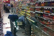 Stock on the floor at New World supermarket in central Wellington. Photo/ Twitter user Mika Reilly