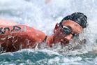 Kane Radford in action in today's 10km open water swim at the FINA World Swimming Championships in Barcelona.Photo / Ian MacNicol