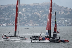 Emirates Team NZ expect they will next sail against Luna Rossa in the final of the Louis Vuitton Cup on August 18. Photo / Abner Kingman