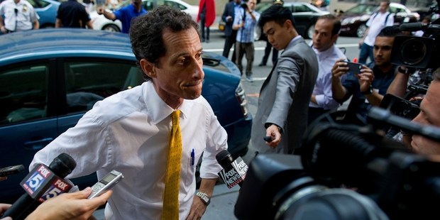 Anthony Weiner is campaigning despite the sexting scandal. Photo / AP