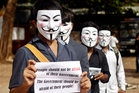 Across the world the cyber-political movement Anonymous has protested against censorship of internet usage. Photo / AP