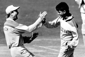 Mark Greatbatch congratulates Dipak Patel on taking another wicket during the 1992 World Cup. Photo / Martin Hunter