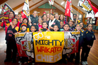 Students from Ngaruawahia Primary School show their support. Photo / Natalie Slade