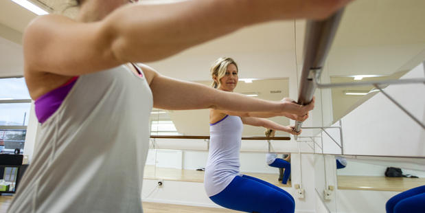 Rachel Grunwell tries out Xtend Barre, a workout that fuses ballet on the barre and Pilates. Photo / Michael Craig
