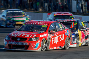Kiwi Scott McLaughlin leads the field at the V8 Supercars race at Queensland Raceway.Photo / EDGE