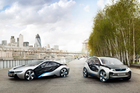 The BMW i8 concept (left) and i3 are set to lead the BMW car company in electrics.