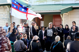 Protests over Kiri Campbell's court case shut down the Hawera District Court on Tuesday. Photo / Bevan Conley