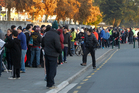 Chiefs fans line up early for tickets to the final game against the Brumbies at Waikato Stadium this Saturday.  Photo / Christine Cornege.