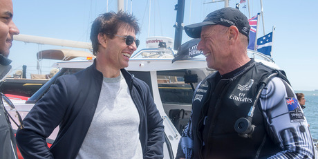 Emirates Team New Zealand MD Grant Dalton talks with Tom Cruise. Photo / Chris Cameron