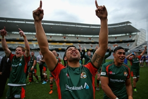 Saleaula Silipa and his Pakuranga team-mates are ecstatic. Photo / Getty Images