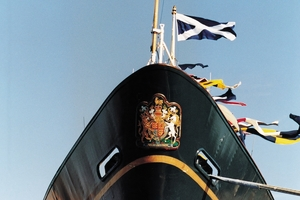 Nowhere on the navy, maroon and gold-painted hull will you find the name Britannia.
