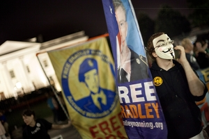 A supporter pushes for Bradley Manning's release. Picture / AP