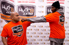 Boxer David Tua with his sparing partner Julius Long who is 7 ft 1 tall. Photo /  Dean Purcell