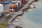 CentrePort's reclaimed container wharf sustained significant damage as a result of the earthquake in Wellington a fortnight ago. Photo / Mark Mitchell