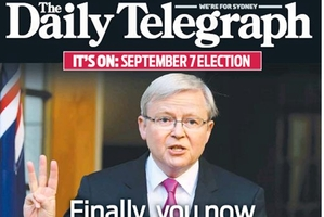 Sydney's Daily Telegraph front page.