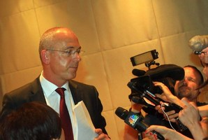 CEO of Fonterra, Theo Spierings, fronted the media at a press conference in Beijing, this week. Photo / AFP