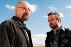 Bryan Cranston as Walter White and Aaron Paul as Jesse Pinkman in a scene from Breaking Bad.