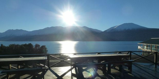Sunrise over Lake Ohau from Lake Ohau Lodge. Photo / Justine Tyerman