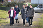 Lynne Douglas, Bob Walker, Melanie Heron, Wayne Spencer and Jack Bullock have a tour of rubbish dumping sites in Castlecliffe. Photo / Bevan Conley