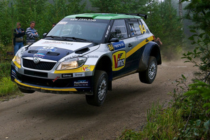 Hayden Paddon's Skoda Fabia S2000 performed well at the Finland Rally, where he finished third.Photo / Honza Fronek.