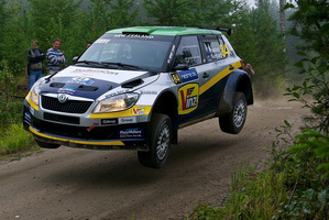 Hayden Paddon's Skoda Fabia S2000 performed well at the Finland Rally, where he finished third. Pictures / Honza Fronek