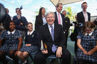 Prime Minister Kevin Rudd talks to children in Brisbane yesterday. Photo / Getty Images