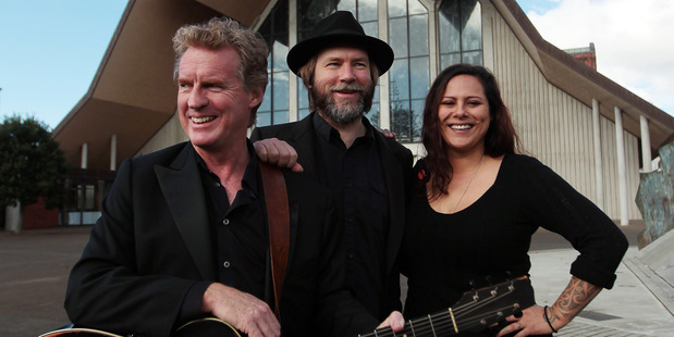 Don McGlashan, Sean James Donnelly  (SJD)and Anika Moa outside Holy Trinity Cathedral. Photo / Doug Sherring