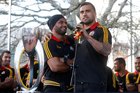 Lelia Masaga (left) and Liam Messam address the hundreds of fans. Photo / Christine Cornege